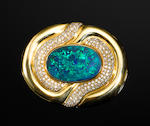 Very Fine Black Opal, Diamond and Yellow Gold Pendant/Brooch