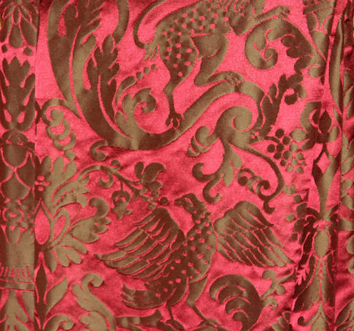 Two crimson damask silk drapes