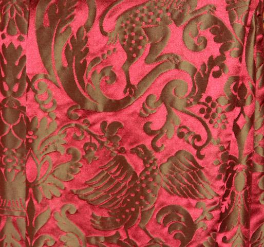 Two crimson damask silk drapes