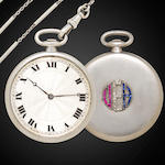 Swiss. A slim gem set platinum dress watch and chainCase no. 13736, 1930's