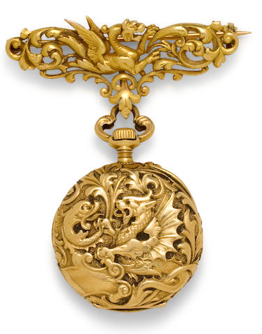Golay fils & Stahl, Genève. A fine chased 18K gold open face lapel watch and brooch en suiteNo 25691, dated 1904