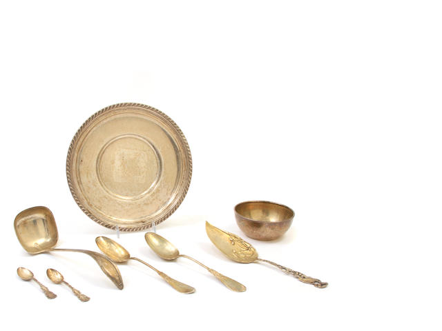 An assembled group of American sterling silver hollowware, flatware and accessories 19th / 20th century