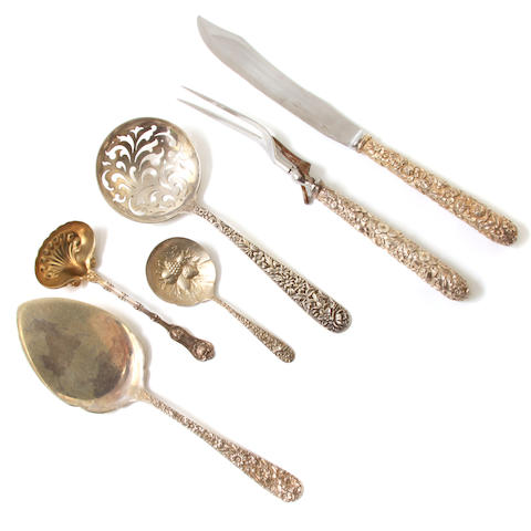 An assembled group of American  sterling silver  serving flatware late 19th / early 20th century
