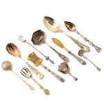 An assembled International group of silver  flatware and serving pieces late 19th / 20th century
