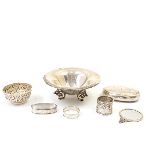 An assembled group of American and Danish sterling silver hollowware and accessories 20th century