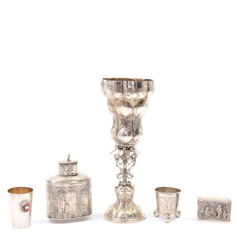 An assembled group of Continental silver hollowware 18th - 20th century