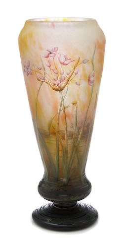 A Daum Nancy enameled cameo glass riverscape vase circa 1900