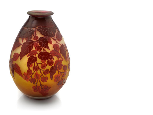 A Gallé cameo glass apple blossom vase circa 1900