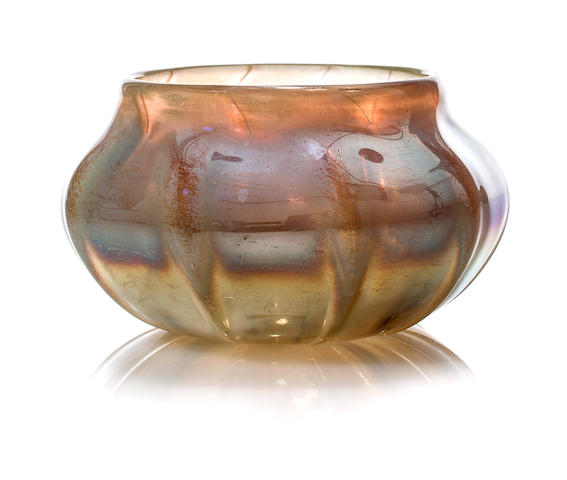 A Tiffany Favrile glass paperweight agate bowl 1892-1928