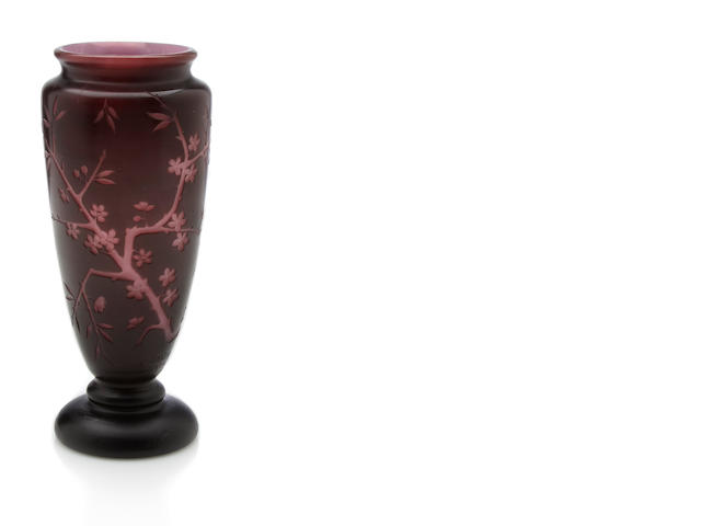 A Daum Nancy cameo glass Prunus blossom vase circa 1900