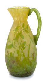 A Daum Nancy enameled cameo glass Morning Glory ewer circa 1900