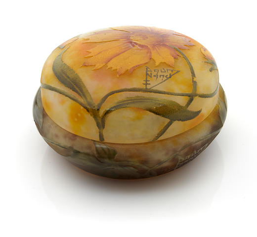 A Daum Nancy enameled cameo glass covered box circa 1900