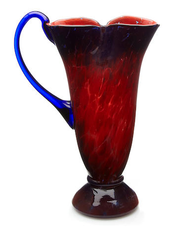 A Schneider glass ewer designed 1920s
