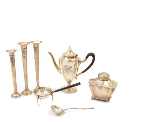 An assembled group of American  sterling silver  hollowware and accessories late 19th / 20th century