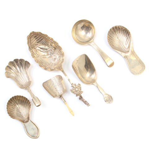 An assembled International group of  silver  caddy spoons 18th - 20th century