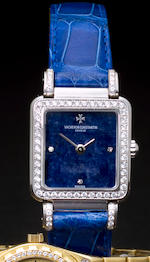 Vacheron & Constantin. A fine 18K white gold and diamond lady's wristwatch with lapis lazuli dialCase no. 651371, Movement no. 8343377