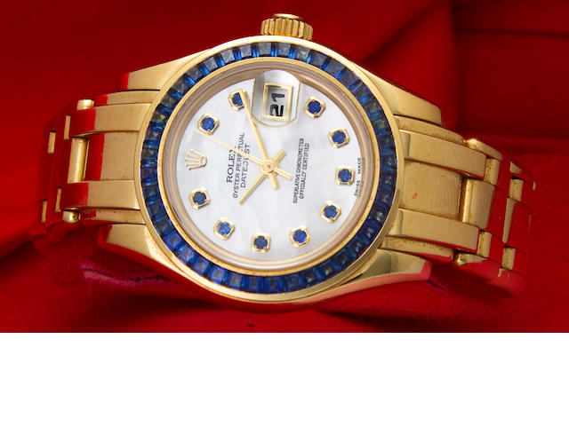 Rolex. A fine 18K gold gem-set automatic center seconds lady's wristwatch with braceletOyster Perpetual Datejust, Ref:69308 Case no. W479825, circa 1995