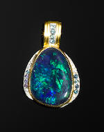 Very Fine Black Opal, Diamond and Tourmaline Pendant