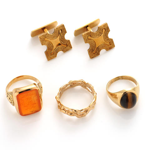 A group gem-set and gold jewelry