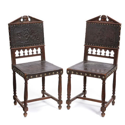 A pair of Renaissance style oak side chairs