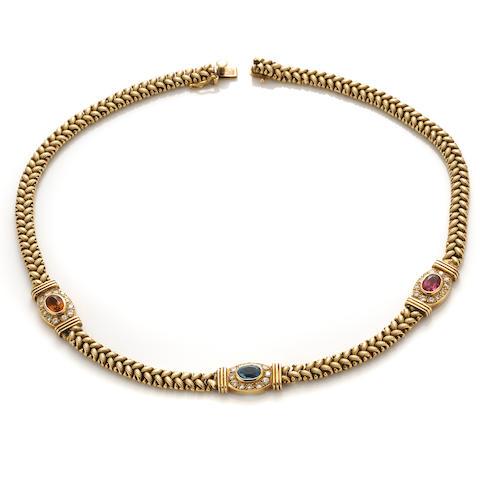 A gem-set, diamond and 14k gold necklace