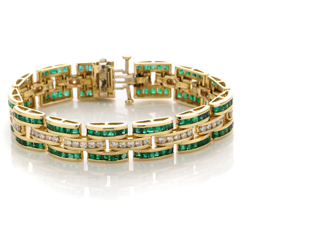 An emerald, diamond and gold bracelet