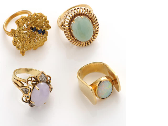 A group of four gem-set, diamond and gold rings