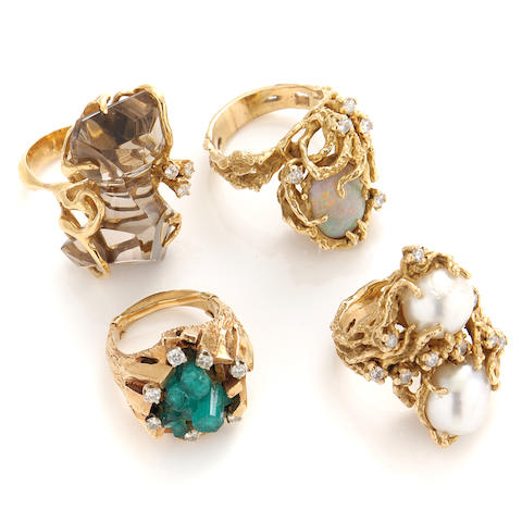 A group of 4 diamond, gem-set and gold rings