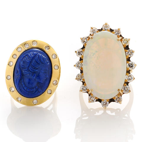 Two carved lapis, diamond, opal and gold rings