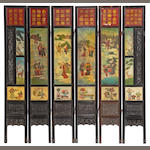 A six-panel painted marble and carved wood screen 19th century