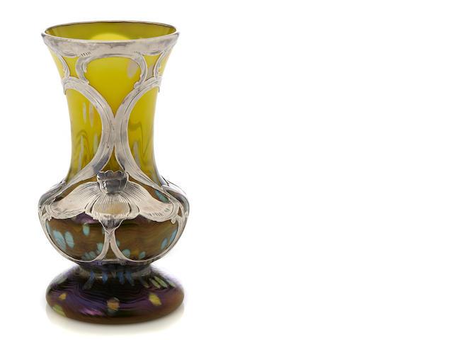A silver-overlaid Loetz iridescent glass vase circa 1900