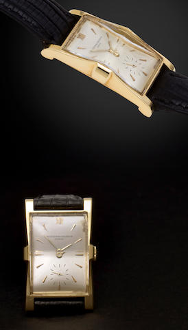 Vacheron & Constantin. A fine and rare 18K gold arched rectangular wristwatchRef:4591, Case no. 337190, Movement no. 435328, 1930's