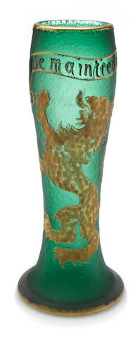 A Daum Nancy etched and gilt enameled glass vase circa 1900