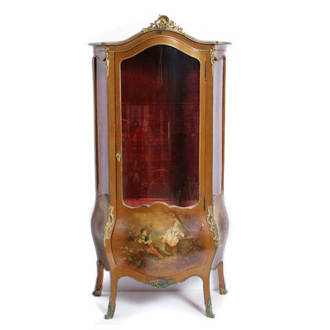 A Louis XV style gilt metal mounted Vernis Martin vitrine cabinet
