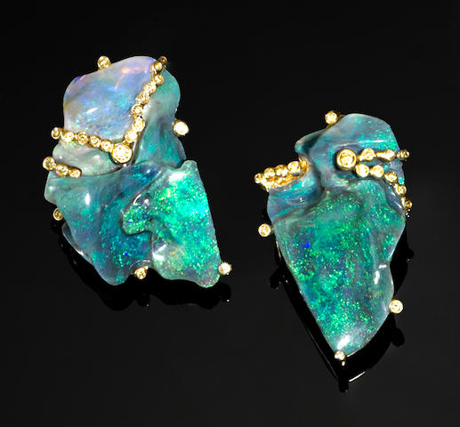 Pair of Black Opal and Yellow Diamond Earrings
