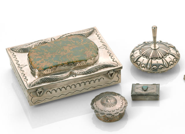 Four Navajo silver boxes