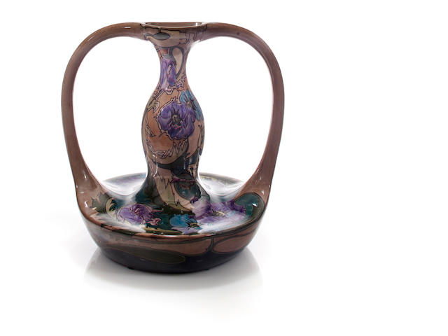 A Gouda glazed-earthenware two-handled vase circa 1900