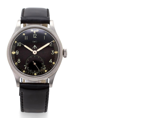 IWC. A stainless steel military wristwatch with black dialMovement no. 1079918, case back and dial marked with broad arrow, stamped W.W.W./M 15857, circa 1944