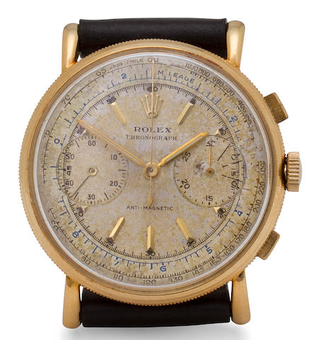 Rolex. A fine and rare 18K gold chronograph wristwatchRef:4062, mid 20th century