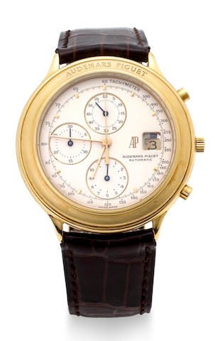 Audemars Piguet. An 18K gold automatic chronograph wristwatch with dateCase no. 66410, Movement no. 325721, 1980's