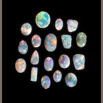 Group of Black, Dark Gray and Various Crystal Opals