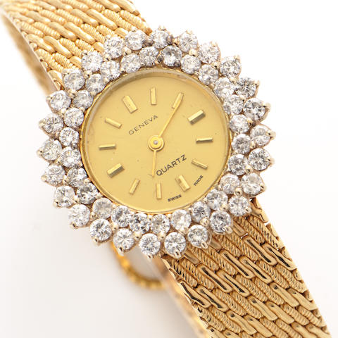 A diamond and 14k gold bracelet wristwatch, Swiss