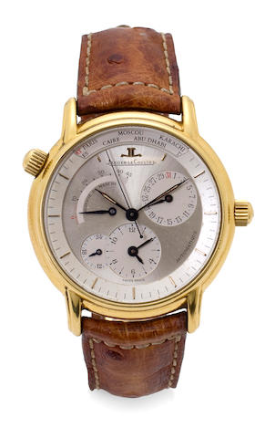 Jaeger-LeCoultre. An 18K gold automatic center seconds world time dual time zone wristwatch Odysseus, Geographique, Ref:169.1.92, Case No. 0006