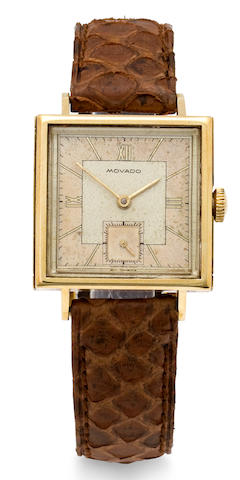 Movado. A 14K gold patent waterproof square wristwatchCase no. 475408 / 44724, supplied by Taubert & fils (François Borgel), patented 1939