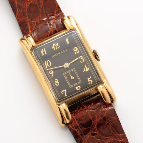 A 14k gold strap wristwatch, Movado