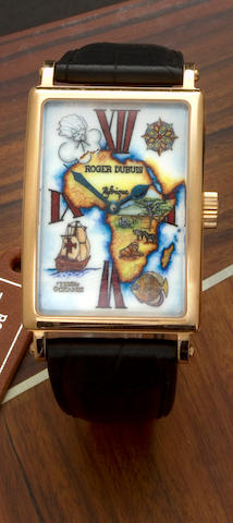 Roger Dubuis. An 18K rose gold limited edition automatic wristwatch with painted enamel dial of the map of AfricaMuch More, Ref: M34145, Movement No.2349, (no. 1 of 28)