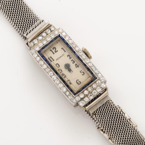 An art deco diamond, sapphire, platinum and 18k white gold bracelet wristwatch
