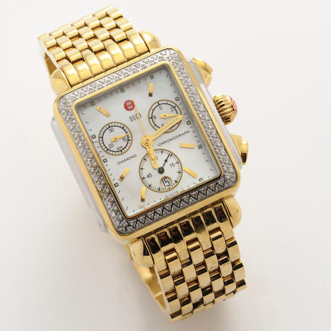 A diamond, mother-of-pearl and metal chronograph date bracelet wristwatch, Michele