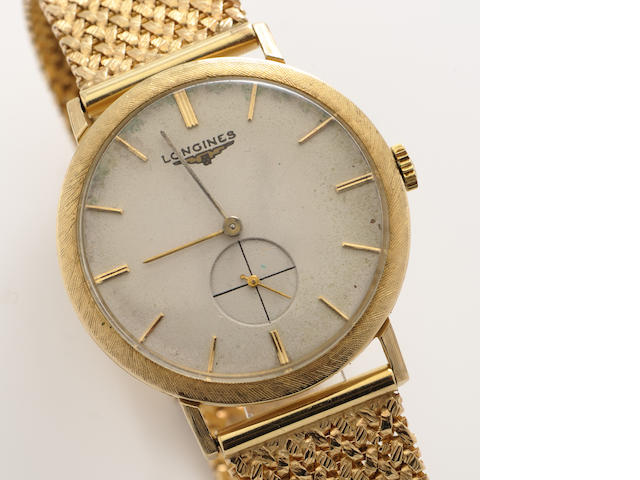 A 14k gold wristwatch, Longines with later bracelet