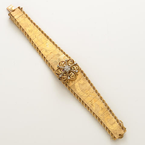 A diamond, mother-of-pearl and 14k yellow gold covered dial bracelet wristwatch, Swiss